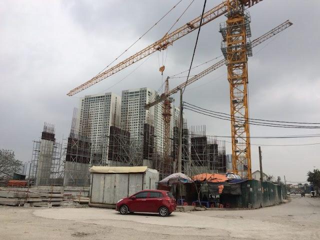 Công trình đang được thi công tầng 1 (tầng trung tâm thương mại)