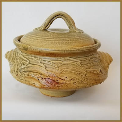 Tony Clennell inspired large covered casserole pottery dish by Lily L.
