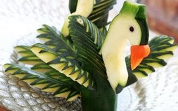 Art In Zucchini Swan | Vegetable Carving Garnish | Party Food Decoration By ItalyPaul