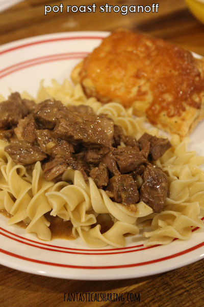 The slow cooking of this pot roast makes for a melt-in-your-mouth stroganoff! #recipe #slowcooker #SundaySupper #beef
