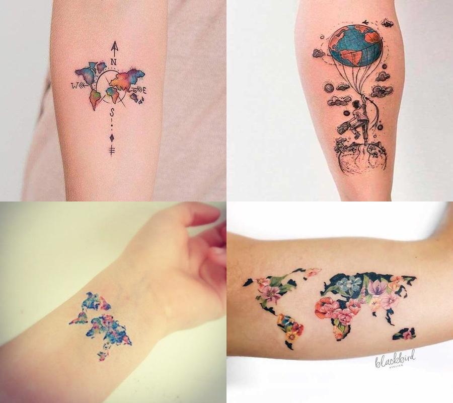 tatuagem mapa mundi