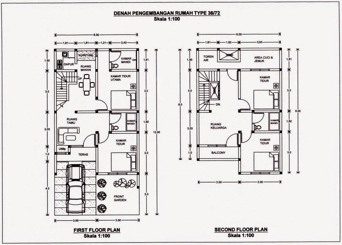 Denah Rumah Minimalis 2 Lantai Type 60 dengan gambarnya