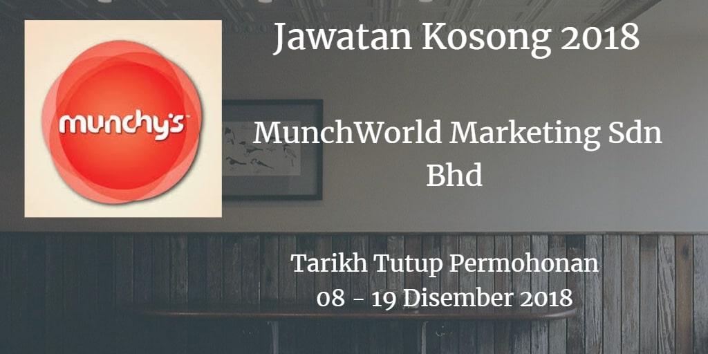 Jawatan Kosong MunchWorld Marketing Sdn Bhd 08 - 19 Disember 2018