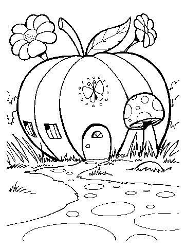 Tranh tô màu ngôi nhà hình quả táo