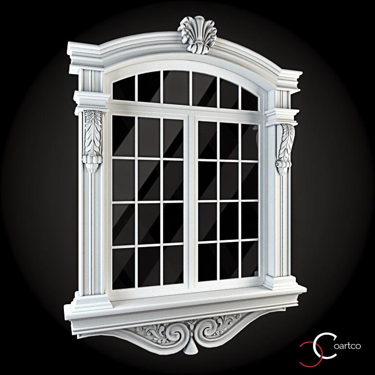 Ornamente Geamuri Exterior, fatade case cu profile decorative polistiren, profile fatada,  Model Cod: WIN-042