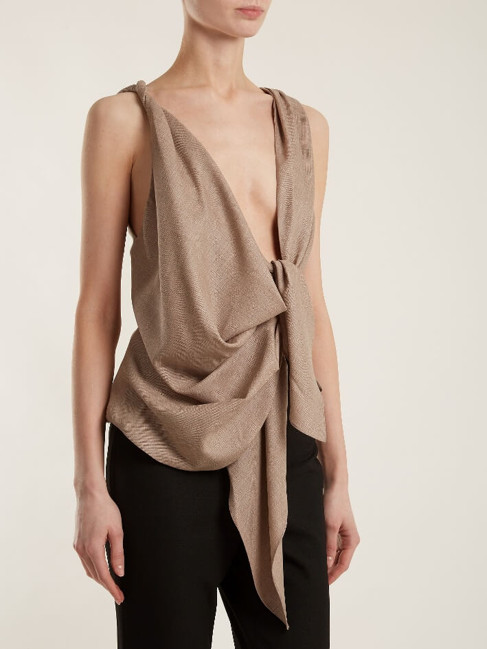 Beige Sleeveless Top With Large Knot