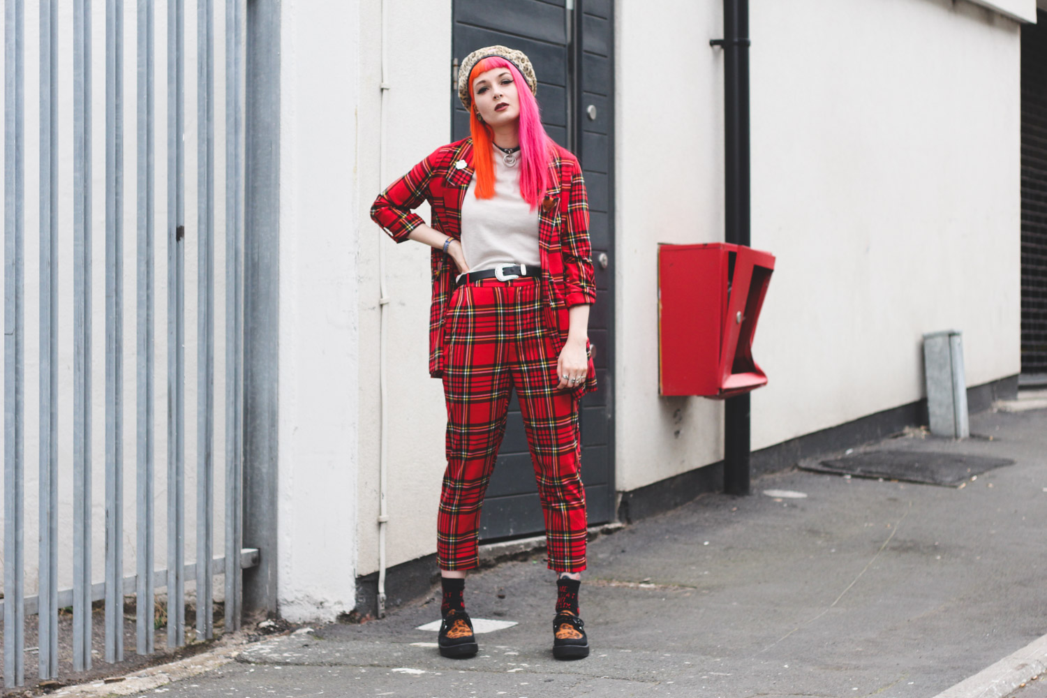 Alternative fashion blogger foxxtailz Styles Stradivarius tartan suit