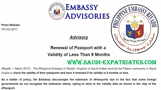 FILIPINOS SHOULD RENEW PASSPORT BEFORE 9 MONTHS
