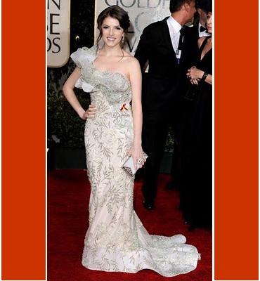 Анна Кедрик в дълга рокля с шлейф на Марчеса