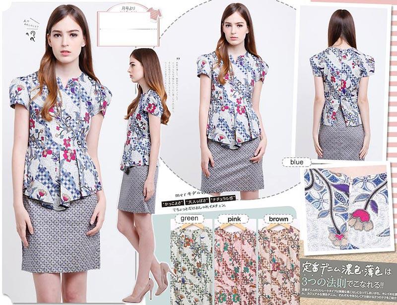 Jual Baju Batik Jenny Peplum Dress - 13144