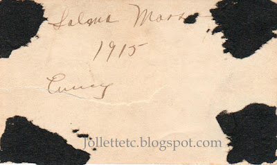 Back of photo of woman with poodle 1915 http://jollettetc.blogspot.com