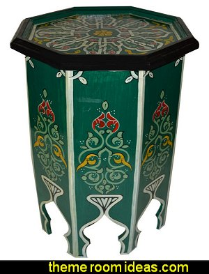 Hand Painted Wood Table side table  Moroccan decorating ideas - Moroccan decor - Moroccan furniture - decorating Moroccan style - Moroccan themed bedroom decorating ideas - Exotic theme decorating - Sultans Palace - harem style bedrooms Arabian nights Moroccan bedroom furniture - moroccan wall decoration ideas