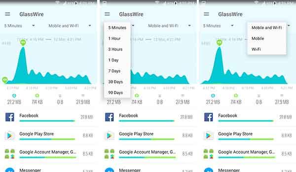 تطبيق GlassWire لمراقبة كمية استهلاك الانترنت التى يستهلكها كل تطبيق