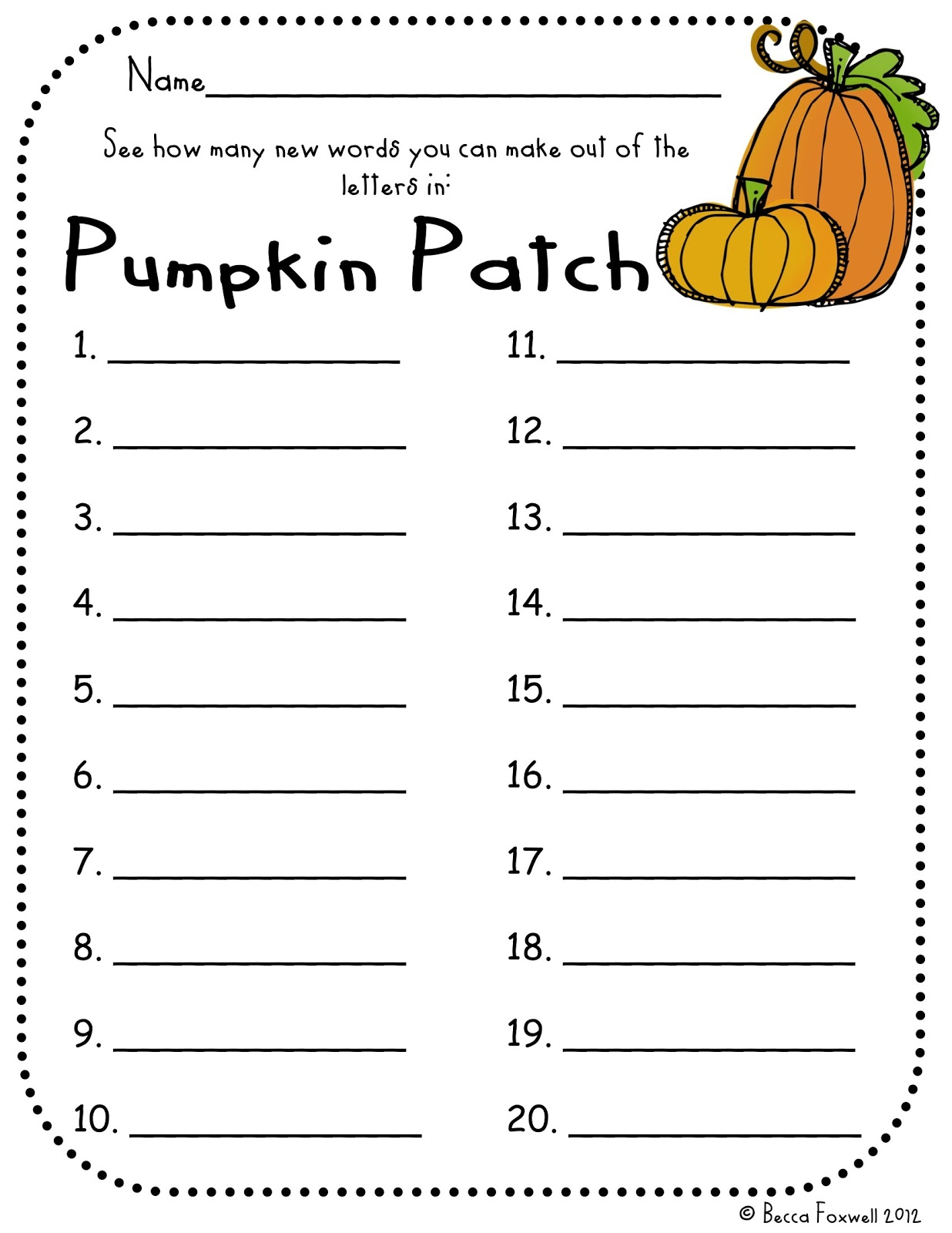 ... many words they can make out of the letters in the words pumpkin patch