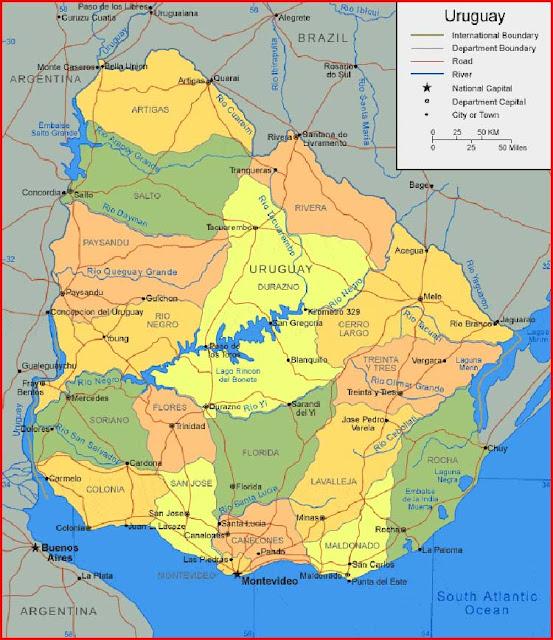 Gambar Peta Uruguay