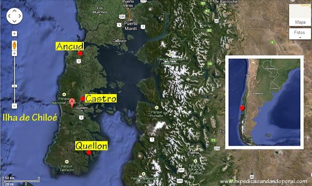 Mapa da Ilha de Chiloé, Chile
