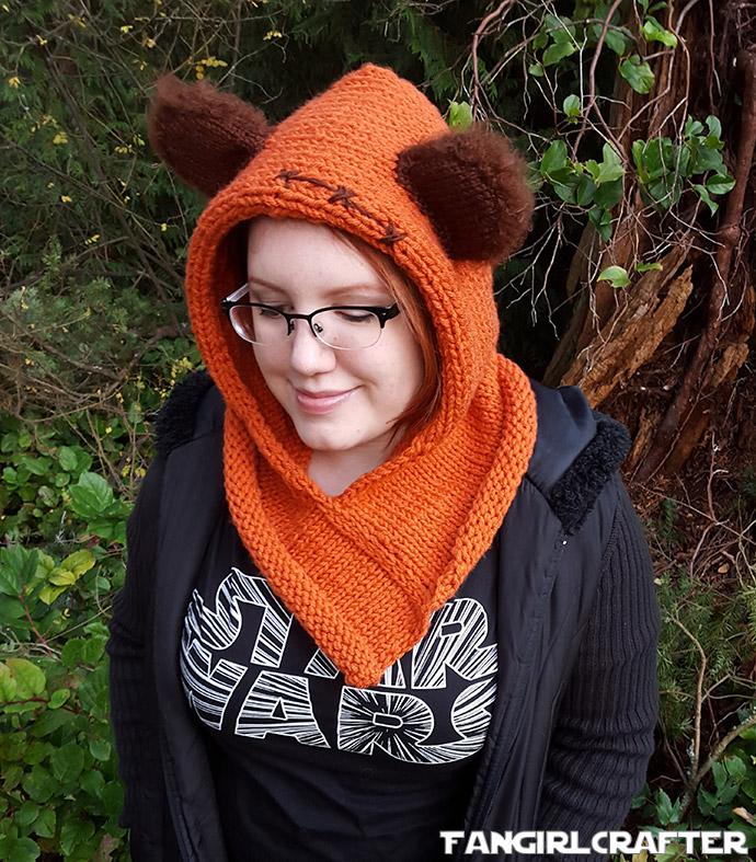 Knit orange Ewok hood like Wicket from Star Wars