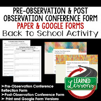 Pre-Observation and Post-Observation Conference Print and Google Form Teacher PD Series, Teacher Observation, Teacher Planning, Professional Development, Back To School