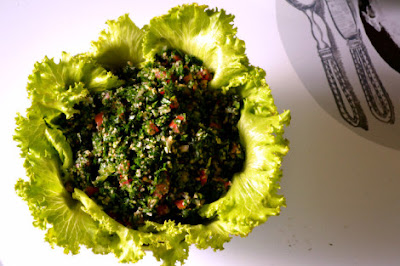 Wash chopped parsley thoroughly and let drain in a fine mesh strainer Tabbouleh…the real deal!