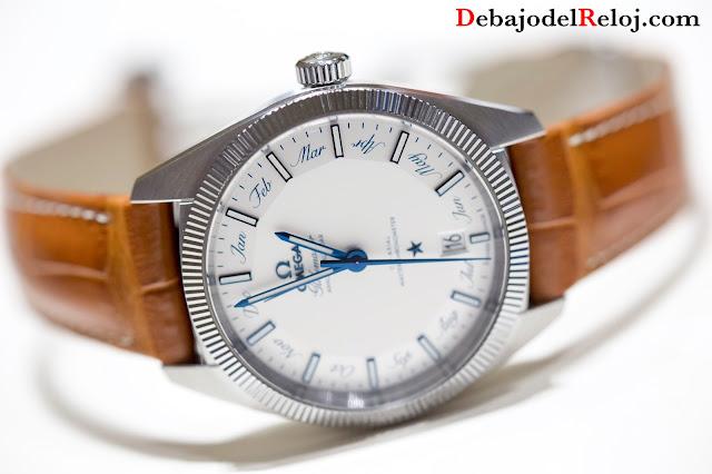 Omega Globemaster Anual Calendario azul blanco