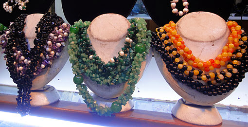 beaded black jade jewelry from various semi precious stones