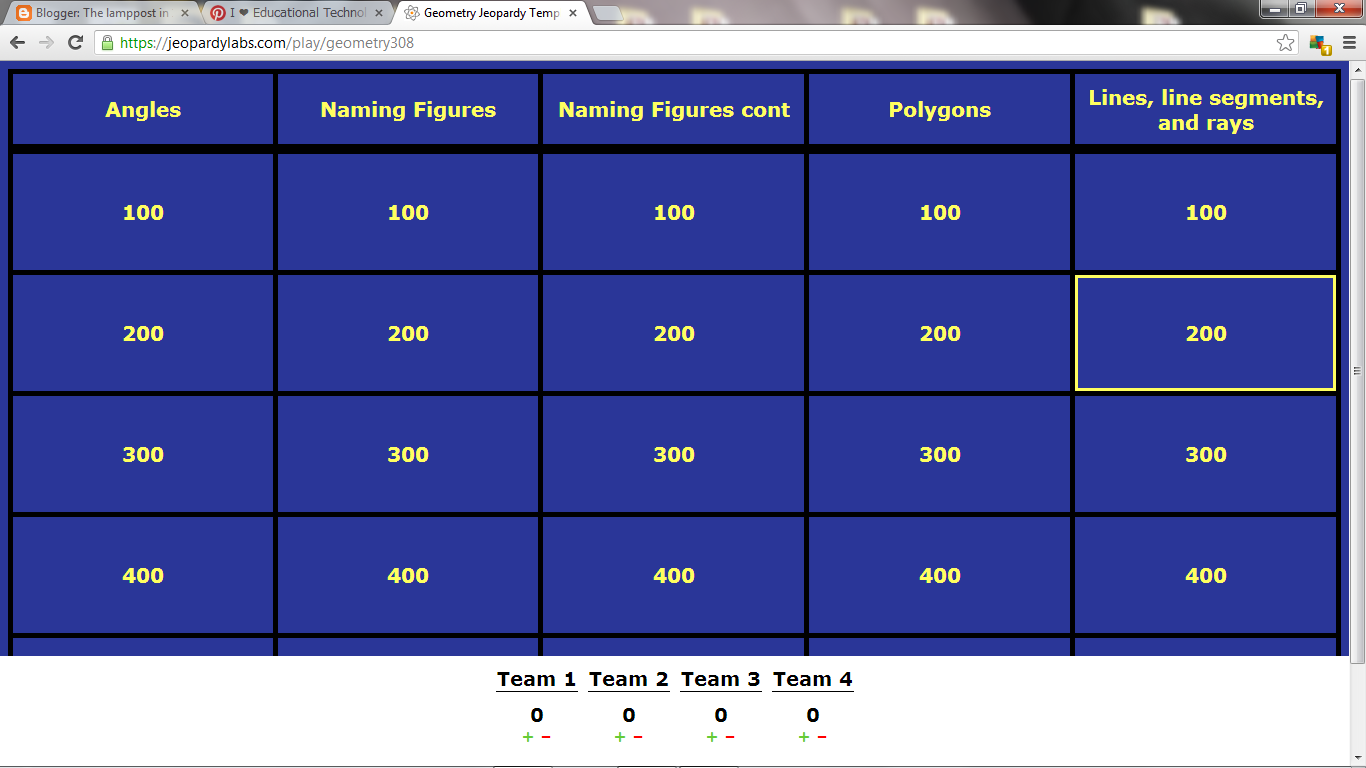 The Teacher S Lamppost Jeopardy Labs