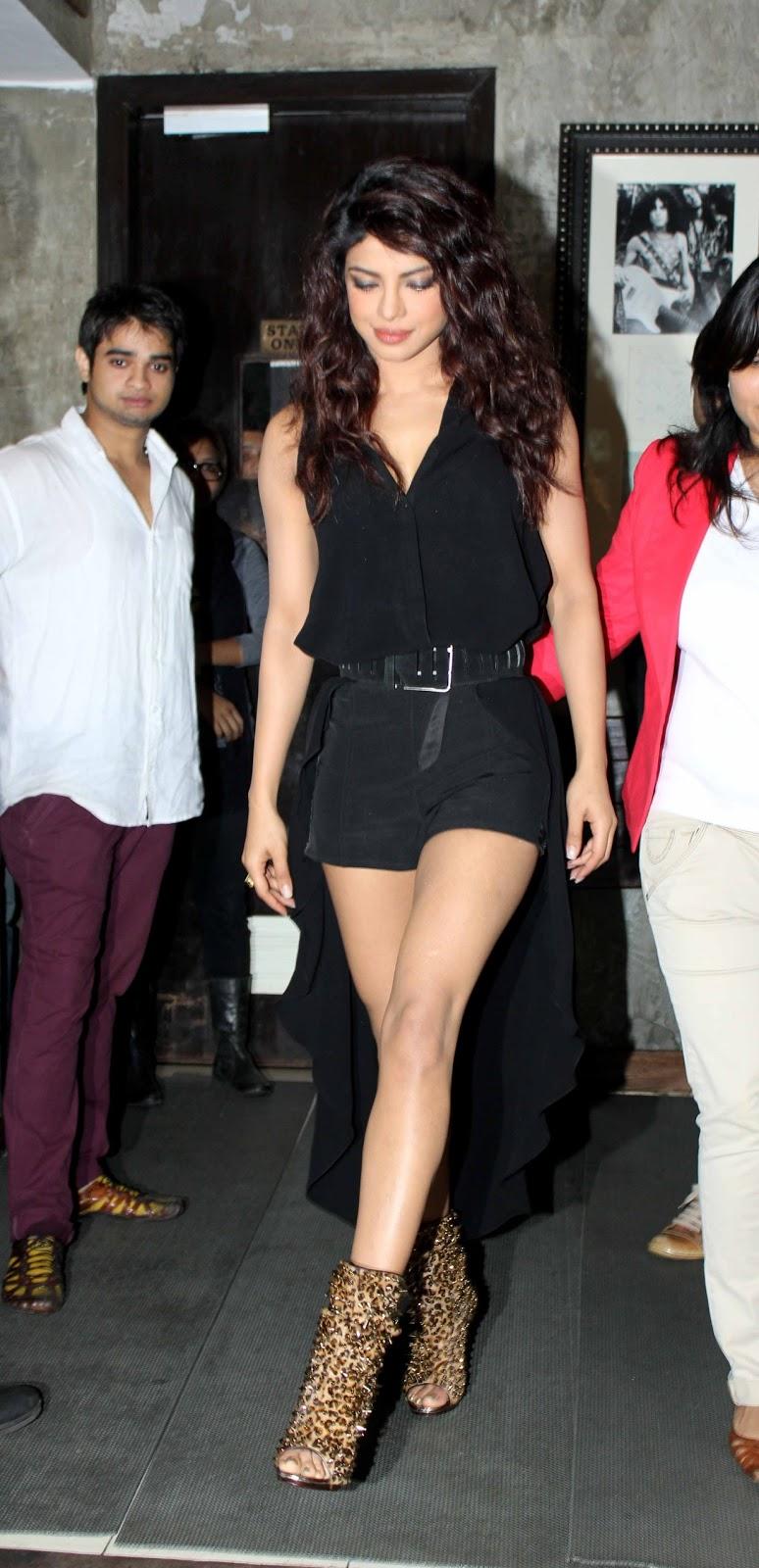 Priyanka Chopra hot thighs in black short - Nude Erotic Image