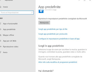 Scelta app predefinite su Windows 10