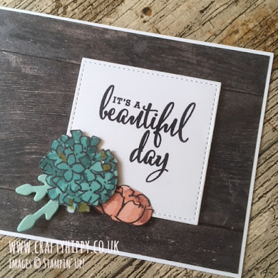 This image shows a handmade card made with the Share What You Love Specialty Designer Series Paper and Wood Textures Designer Series Paper by Stampin' Up!
