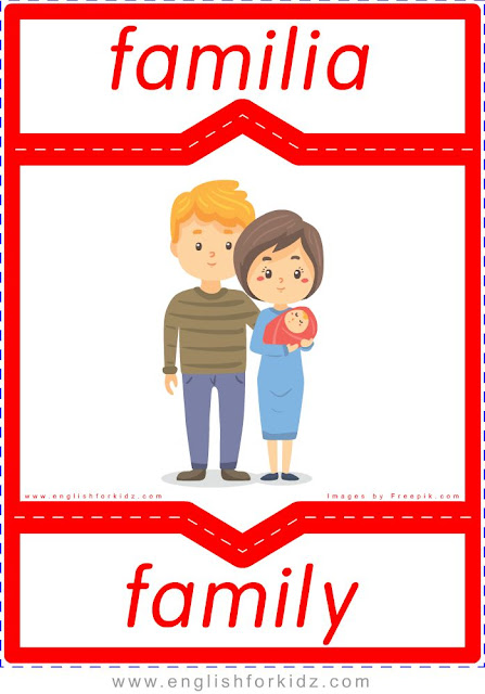 Printable family members English-Spanish flashcards for ESL students