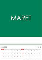 Simple Desain Kalender 2019 Indonesia bulan Maret beserta Hari Libur Nasional