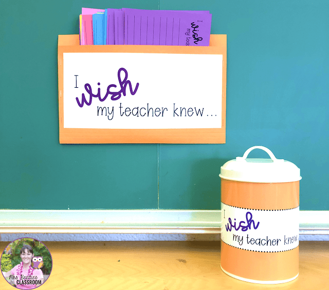 """I Wish My Teacher Knew"" notepaper and container"
