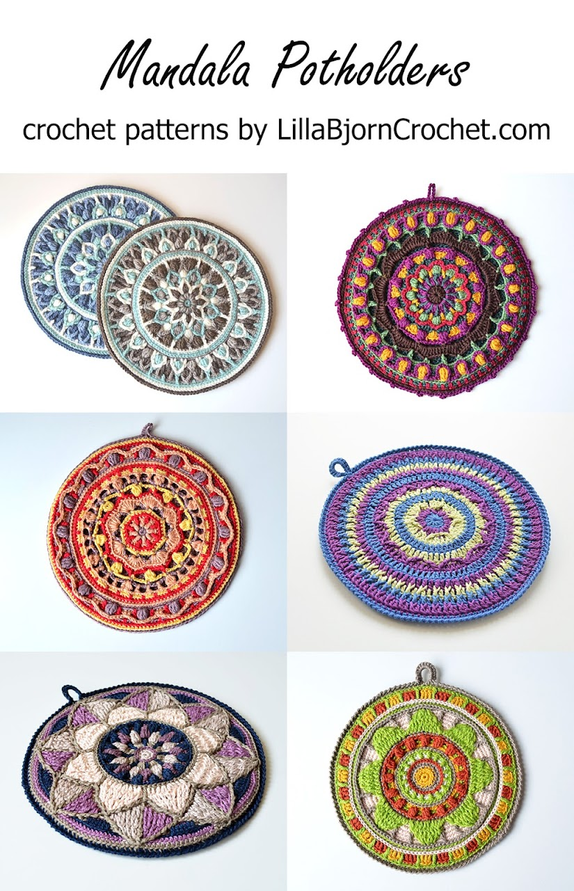 Mandala Potholders - crochet patterns by www.LillaBjornCrochet.com