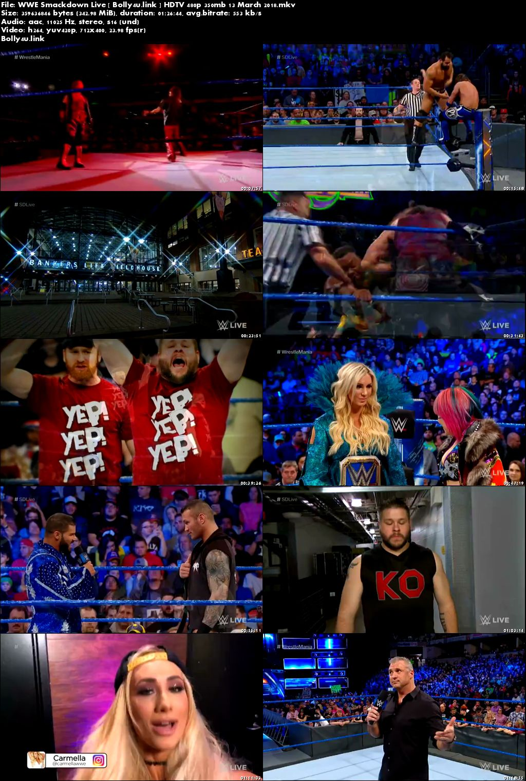 WWE Smackdown Live HDTV 480p 350mb 13 March 2018 Download