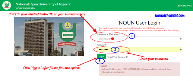 National Open University of Nigeria User Login Page