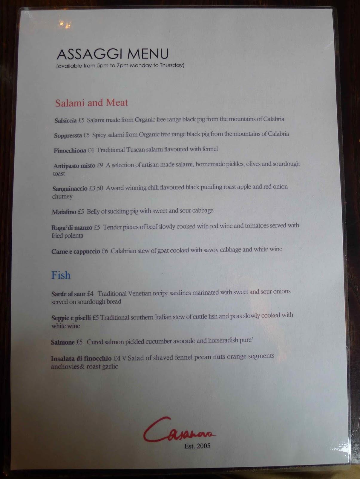 Assaggi London Restaurant Menu