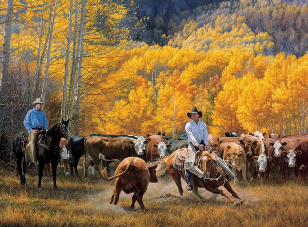 Im genes arte pinturas pinturas del oeste fabulosos cuadros de caballos y vaqueros - Cuadros de vacas ...