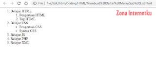 Membuat Sub/List Dalam List HTML