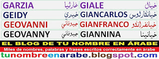 nombres en arabe para tatuajes: Giale Giancarlos Gianfranco Giannina