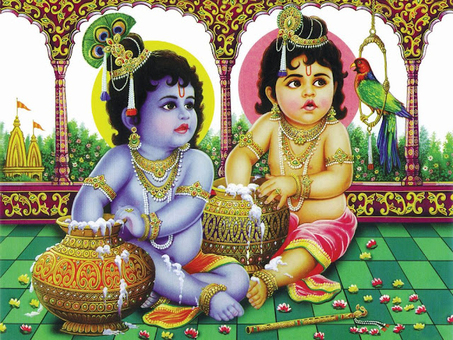 Best God Krishna & Balram Lovely  Wallpaper For Desktop