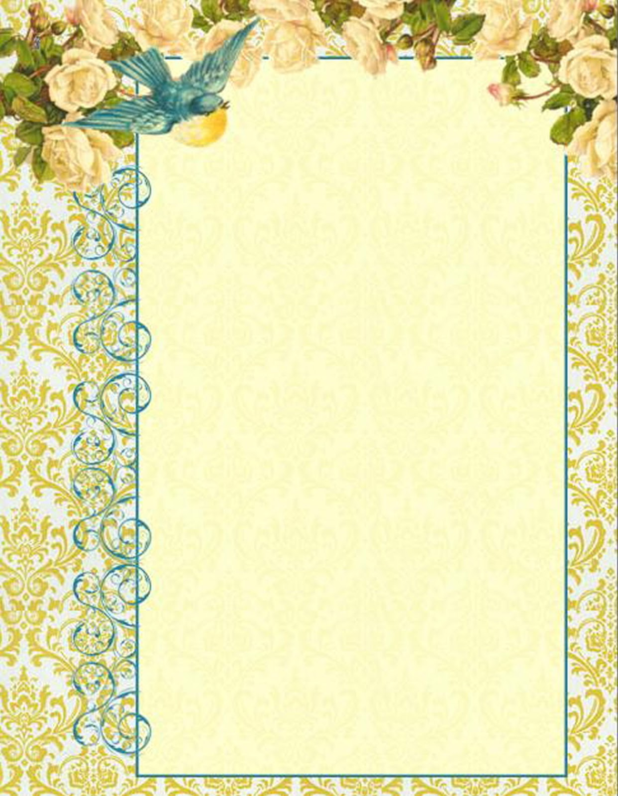 antique images  digital printable letterhead stationary  blue bird graphic and white rose