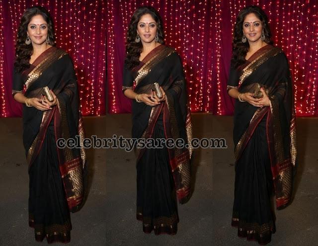Nadhiya Black Silk Saree