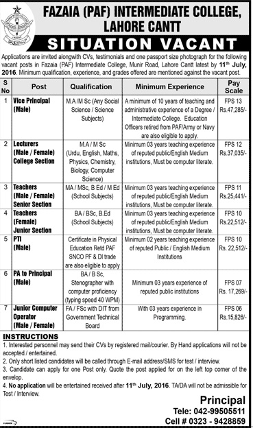 Lecturers and Teachers Jobs in Fazaia Intermediate College Lahore for different Subjects PAF Jobs 2016