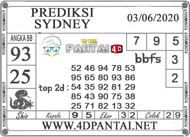 PREDIKSI TOGEL SYDNEY PANTAI4D 03 JUNI 2020