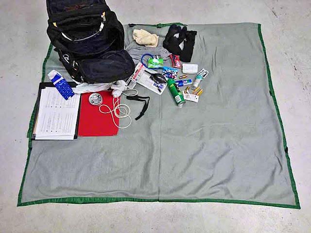 bug spray, medicines, socks, tuna, tissues, backpack