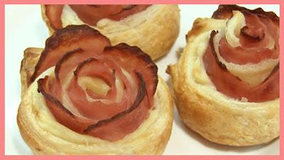rosas de hojaldre de jamon y queso