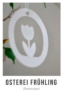 Frühlingsdeko ist eine Dekoration der Vorfreude: Ostereier, Vögel, Hasen und Blumen sind die Motive der grünen Jahreszeit. Anhänger mit Frühlingsmotiven für den Osterstrauß oder Osterkarten kannst du mit den Plotterdateien für die Anhänger einfach aus Papier basteln!