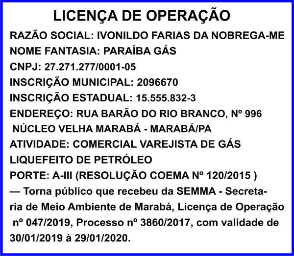 LICENÇA DE OPERAÇÃO -- PARAÍBA GÁS -- MARABÁ/PA