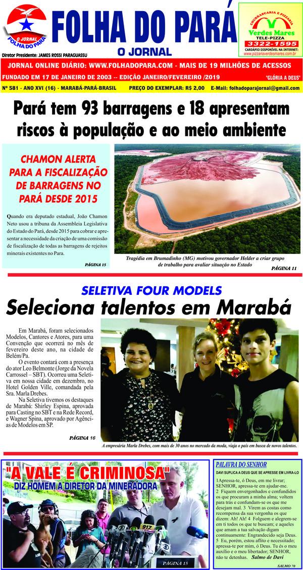 JÁ NAS BANCAS A EDIÇÃO DE JANEIRO DA FOLHA DO PARÁ - GLÓRIA A DEUS!