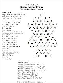 Free brick stitch seed bead earring pattern word chart.